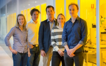 Prof David Reilly (second from left) with Station Q Sydney members senior research scientist Dr Maja Cassidy, program manager Dr James Rabeau, executive business administrator Alexis George and postdoctoral researcher Dr John Hornibrook, in the flagship b
